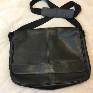 Kenneth Cole leather laptop/messenger bag black